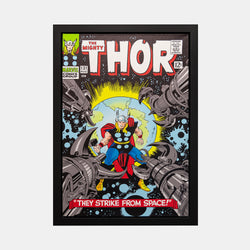 Stan Lee Signed: The Mighty Thor #131 They Strike From Spae! Box Canvas Framed - worldofsuperheroesuk