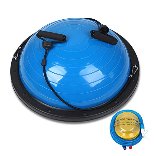 "Balance Ball Balance Trainer, 23"" Half Ball with Resistant Band, 4MM Thickened PVC, Weight: 660 lbs, Yoga Strength Exercise Fitness with Bonus Foot Pump, for Core Training Home Workout - Blue"