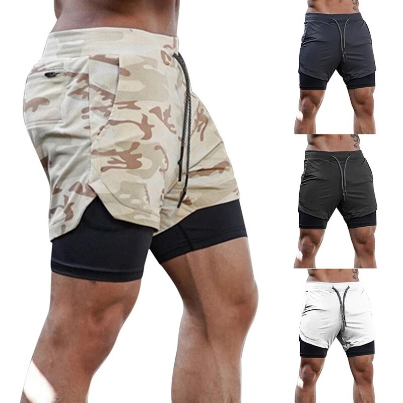 New Double layer Running Sport Shorts Mens
