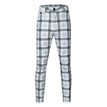 Load image into Gallery viewer, Fashion Men Casual Plaid Print Drawstring Elastic Waist Long Pants Trousers pantalones hombre