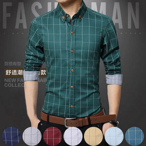 Men Plaid Print Long Sleeve Formal Men Shirt Turn-down Collar Male Business Dress Fashion Patchwork Shirts Tops 5XL