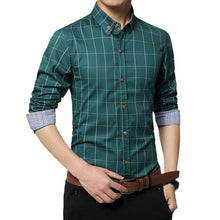 Load image into Gallery viewer, Men Plaid Print Long Sleeve Formal Men Shirt Turn-down Collar Male Business Dress Fashion Patchwork Shirts Tops 5XL