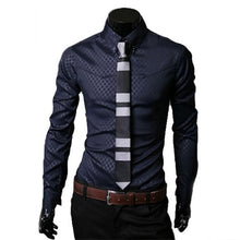 Load image into Gallery viewer, 1Pcs Casual Cotton Men's Tops Button Slim Fit Lattice Long Sleeve New Fashion Dark Plaid Long Sleeve Shirt Turn-down Collar