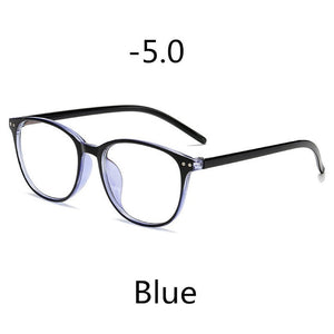Elbru -1 -1.5 -2 -2.5 -3 -3.5 -4 -4.5 -5.0 -5.5 -6.0 Classic Rivets Myopia Glasses With Degree Women Men Black Glasses Frame