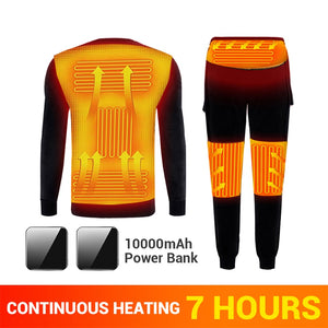 Winter Heated Underwear Fleece Lined Heating Thermal Underwear Set USB Electric Heated T-Shirts & Pants Battery Powered Ski Wear