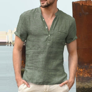 2020 New Mens Spring Summer Casual Shirt Short Sleeve Cotton Linen Shirts Men Loose Collar Button Shirt silk Chemise Homme
