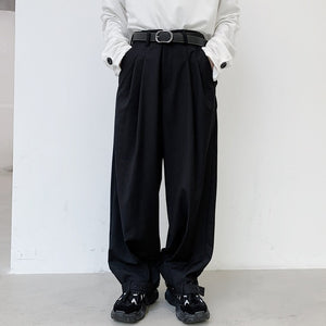 2020 New Men Wide Leg Casual Suit Pant Male Japan Street Vintage Fashion Hip Hop Adjustable Hem Cone Trouser Harem Pant