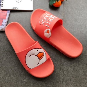 Men and Women Slippers Cartoon Indoor Sleepers Duck Summer Flat  Slippers Couple Non-Slip Beach Slides Home Floor Cute Shoes