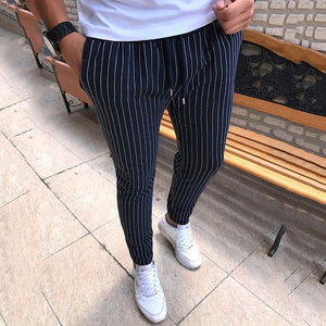 Free shipping Striped Pencil Pants Men Casual Drawstring Trousers Male Street Fashion Breathable All-match Trousers Streetwear