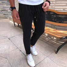 Load image into Gallery viewer, Free shipping Striped Pencil Pants Men Casual Drawstring Trousers Male Street Fashion Breathable All-match Trousers Streetwear