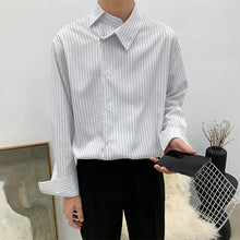 Load image into Gallery viewer, EWQ / men's wear 2020 spring fashion new Asymmetric personality lapel striped business casual shirt all-match loose top 9Y1202