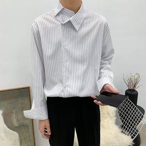 EWQ / men's wear 2020 spring fashion new Asymmetric personality lapel striped business casual shirt all-match loose top 9Y1202