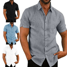 Load image into Gallery viewer, Mens Linen Blouse Short Sleeve Baggy Buttons Summer Solid Comfortable Pure Cotton And Linen Casual Loose Holiday Shirts Tee Tops