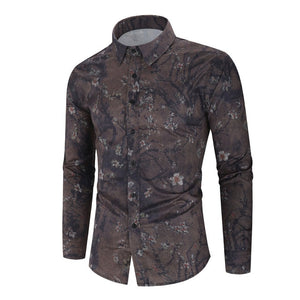 2020 New Men's Silk Satin Floral Printed Shirts Male Slim Fit Long Sleeve Flower Shirts Print Casual Party Shirt Tops M-3XL