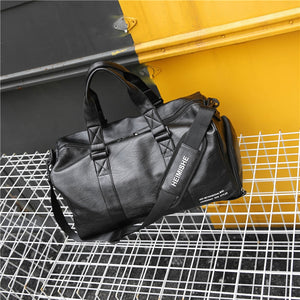 Gym Bag Leather Sports Lady Bags Big MenTraining Tas for Shoes   Fitness Yoga Travel Luggage Shoulder Black Sac De Sport