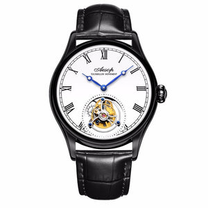 New 100% Original Luxury Tourbillon Watch Mens Mechanical Watches Top Brand Classic White Leather Watch Relogio Masculino 7021