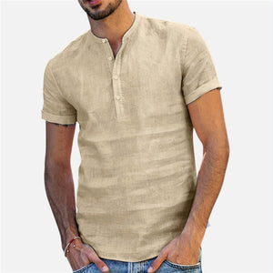 Shirt Men Casual simple Linen and Cotton Short Sleeved Buttons Up Breathes Cool Shirt Loose Streetwear Male Shirts For Men