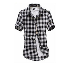 Load image into Gallery viewer, Red And Black Plaid Shirt Men Shirts 2020 New Summer Fashion Chemise Homme Mens Checkered Shirts Short Sleeve Shirt Men Blouse