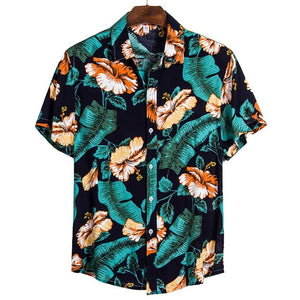 2020 Summer Hawaiian Shirt Mens Cotton Short Sleeve Floral Printed Loose Hawaiian Beach Shirts Plus Size 3XL Camisa Masculina