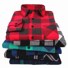Load image into Gallery viewer, 100% Cotton Flannel Men's Plaid Shirt Slim Fit Spring Autumn Male Brand Casual Long Sleeved Shirts Soft Comfortable 4XL 5XL 6XL