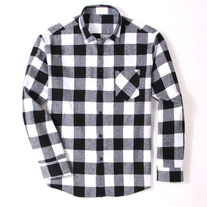 100% Cotton Flannel Men's Plaid Shirt Slim Fit Spring Autumn Male Brand Casual Long Sleeved Shirts Soft Comfortable 4XL 5XL 6XL