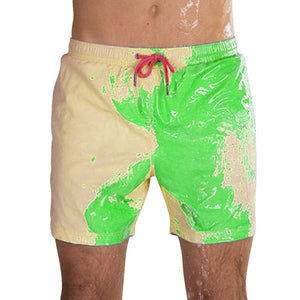 Men Beach Shorts Change Color Beach Pant Quick Dry High Temperature Discoloration Male Running Shorts Summer Swimming Shorts
