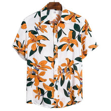 Load image into Gallery viewer, Summer Man Shirt Mens Ethnic Printed Stand Collar Cotton Linen Stripe Short Sleeve Loose Hawaiian Henley Shirt hawaiian shirt