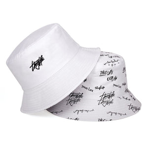New double-sided fisherman hat fashion summer ladies sun hat tide letter printing wild basin hat hip hop bucket hat General