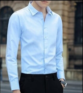 Large Size Men's Business Casual Long Sleeved Shirt White Blue Black Smart Male Social Dress Shirt Plus