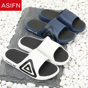 ASIFN Men Fashion Beach Slippers Summer Home Simple Couple Flip Flops Outdoor Bathroom Non-slip Solid Mens Shoes Chanclas Hombre