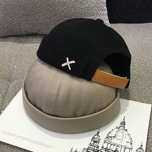 Vintage Dome Hat Mens Solid Color Velvet Beanies For Men Docker Sailor Crimping Brimless Skull Caps Casual Hip Hop Cap