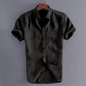 Summer Casual Shirts for Men Short Sleeve Linen cotton Shirt Masculina Camisa Slim Fit Male Blouse Homme Chemise Plus Size Men