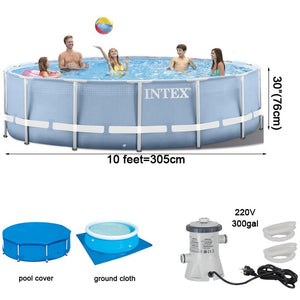 INTEX 305*76 cm Round Frame Above Ground Pool Set 2019 model Pond Family Swimming Pool Filter Pump metal frame structure pool