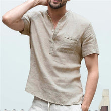 Load image into Gallery viewer, Shirt Men Casual simple Linen and Cotton Short Sleeved Buttons Up Breathes Cool Shirt Loose Streetwear Male Shirts For Men