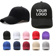 Load image into Gallery viewer, Custom baseball cap print logo text photo embroidery gorra casual solid hats pure color black cap Snapback caps for men women