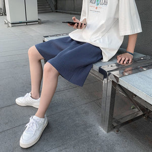 Summer Pleated Shorts Men's Fashion Solid Color Loose Casual Shorts Men Streetwear Wild Korean Five-point Pants Mens S-3XL