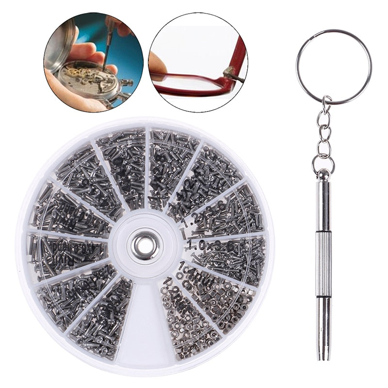 600Pcs Screws Nuts Repair Kits 12 Kinds Stainless Steel Tiny Hex Assortment Kit + Screwdriver For Glasses Sunglass Watch