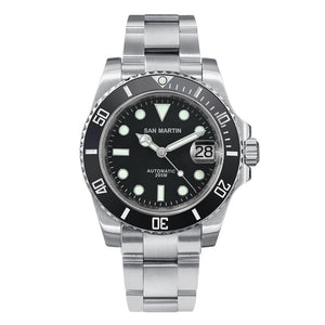 San Martin Diver Water Ghost Luxury Sapphire Crystal Men Automatic Mechanical Watches Ceramic Bezel 20Bar Luminous Date Window