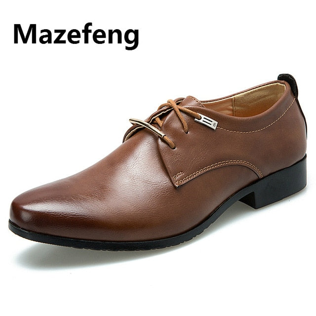 Mazefeng 2019 New High Quality British Style Leather Men Shoes Lace-Up Bullock Business Dress Men Oxfords Shoes Male Formal Shoe