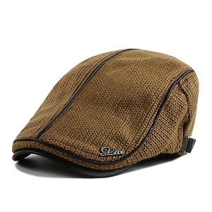 BISONJS Knitted Cap Hat Men's Autumn and Winter Thick Warm Beret Casual England Male fashion new hot hats patchwork Polyester