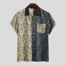 Load image into Gallery viewer, INCERUN 2020 Leopard Patchwork Men Shirt Casual Chic Fashion Short Sleeve Shirts Lapel Streetwear Brand Personality Camisas 5XL