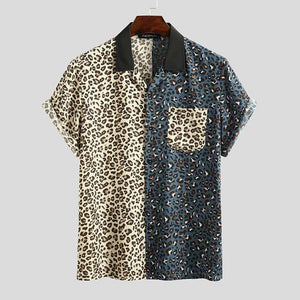 INCERUN 2020 Leopard Patchwork Men Shirt Casual Chic Fashion Short Sleeve Shirts Lapel Streetwear Brand Personality Camisas 5XL