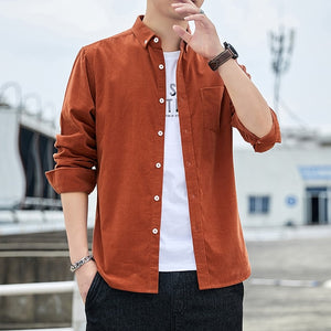 Casual Mens Corduroy Shirt Pure Cotton Long Sleeve Brown Thick Winter XXL Regular Fit New Model Male Button Down Shirts