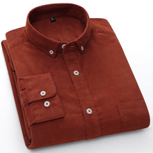 Load image into Gallery viewer, Casual Mens Corduroy Shirt Pure Cotton Long Sleeve Brown Thick Winter XXL Regular Fit New Model Male Button Down Shirts
