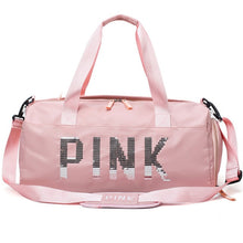 Load image into Gallery viewer, 20-35L Fitness Training Bag Dry Wet Separation Shoes Bags Sequins PINK Letter Outdoor Sports Gym Bag Package Yoga Handbag 9B66
