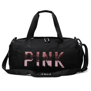 20-35L Fitness Training Bag Dry Wet Separation Shoes Bags Sequins PINK Letter Outdoor Sports Gym Bag Package Yoga Handbag 9B66