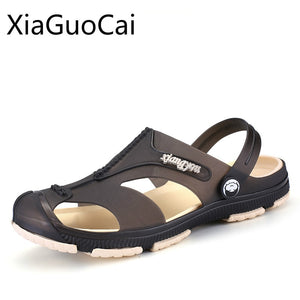 Hot Sale Retro Men Slippers Two Way Pvc Beach Sandals for Mens Summer Platform Slides Fashion Slippers Drop Shipping W14 35