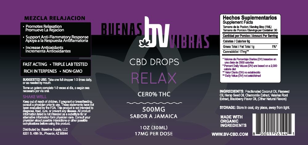 Buenas Vibras Relax Tincture 500mg