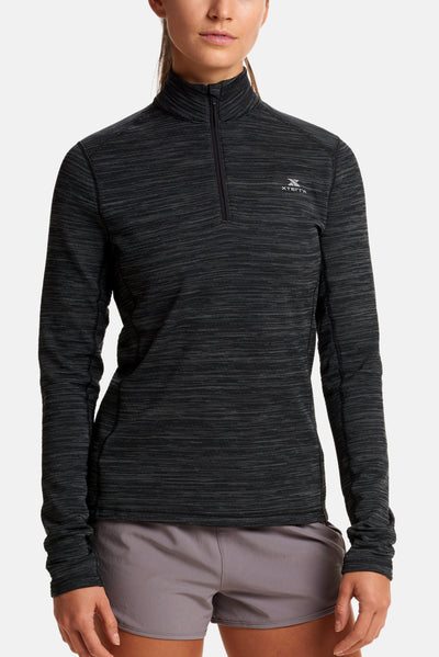 Women's Alpine Grid 1/4 Zip Jet Black_1