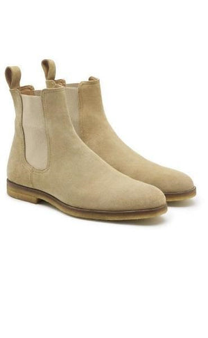 Manufacturing Famous Marc Wenn Chelsea Boots. Tan Suede